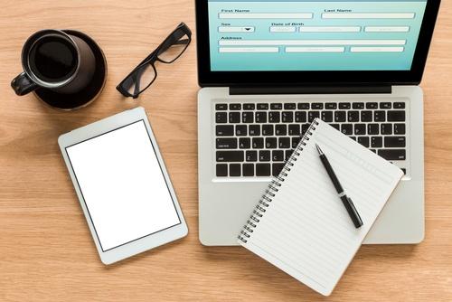 laptop showing web form